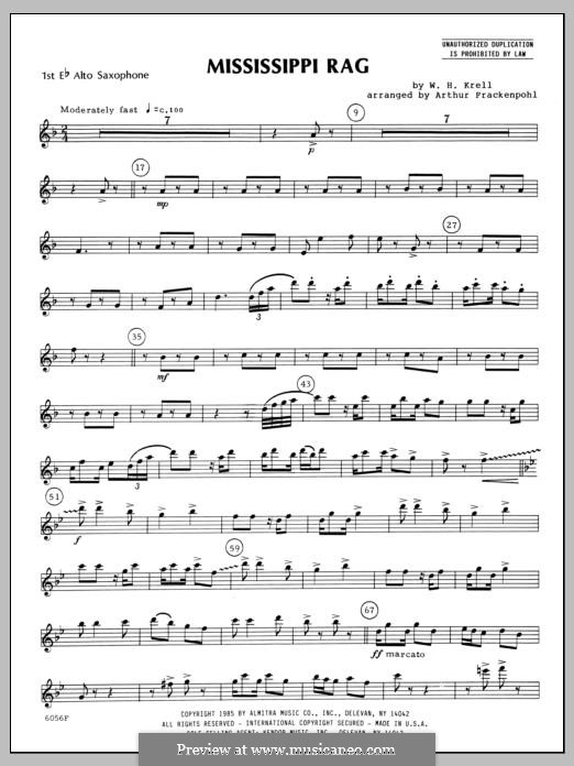 Mississippi Rag: For saxophones – Alto Sax 1 part by Уильям Крелл