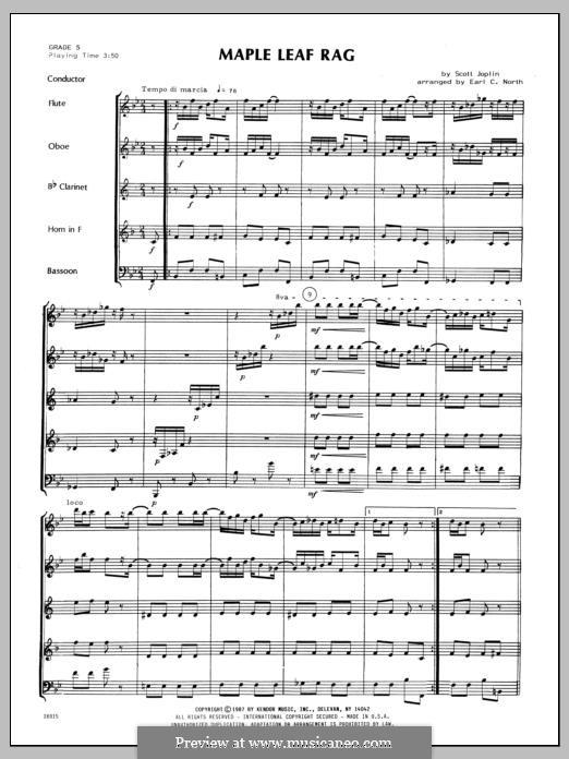 Maple Leaf Rag (Printable Scores): For winds - full score by Скотт Джоплин