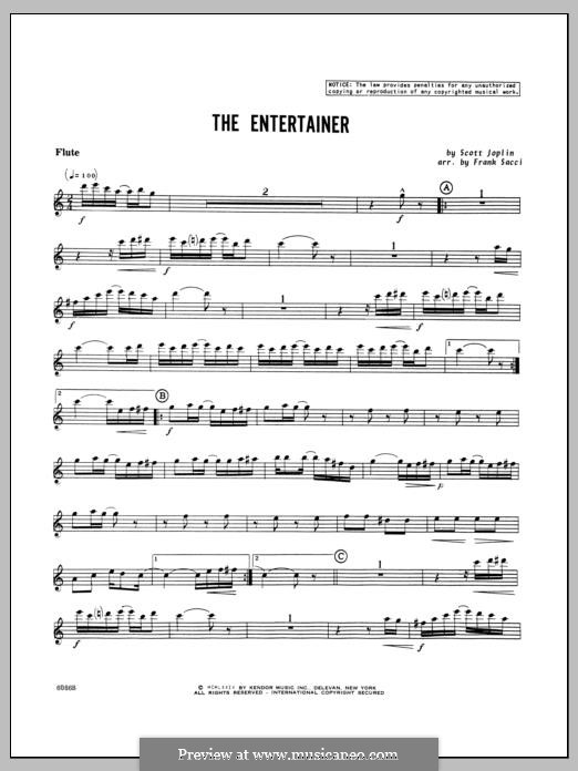The Entertainer (Printable Scores): For winds – Flute part by Скотт Джоплин