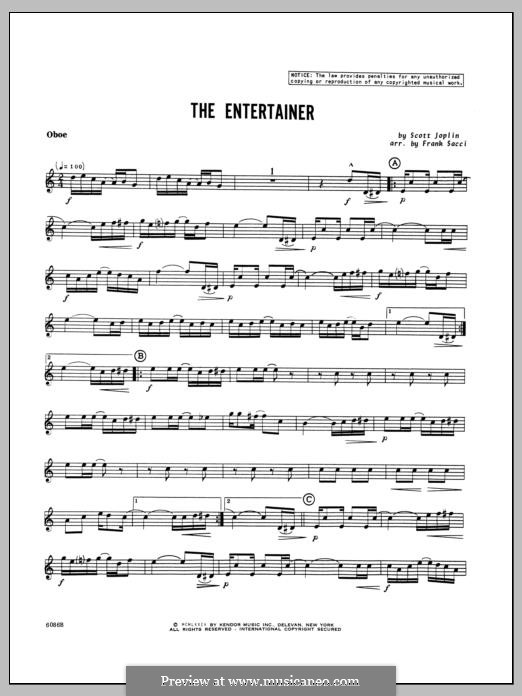 The Entertainer (Printable Scores): For winds – Oboe part by Скотт Джоплин