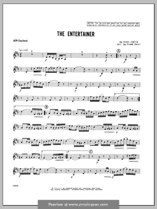 The Entertainer (Printable Scores): For winds – Bb Clarinet part by Скотт Джоплин