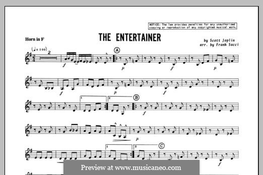 The Entertainer (Printable Scores): For winds – Horn in F part by Скотт Джоплин