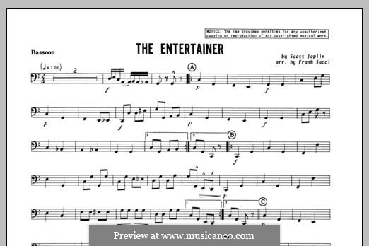 The Entertainer (Printable Scores): For winds – Bassoon part by Скотт Джоплин