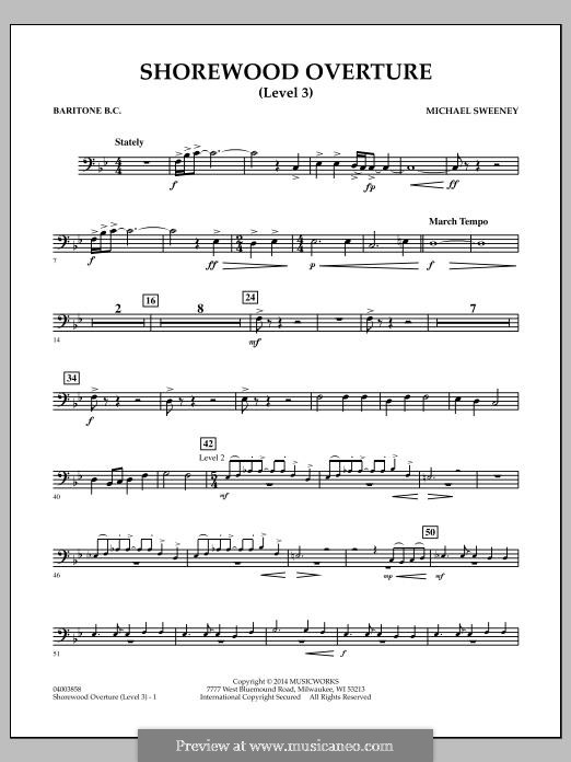 Shorewood Overture (for Multi-level Combined Bands) Level 3: Baritone B.C. part by Michael Sweeney