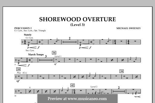 Shorewood Overture (for Multi-level Combined Bands) Level 3: Percussion 2 part by Michael Sweeney