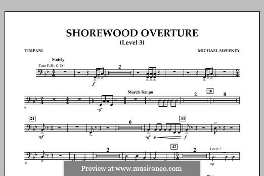 Shorewood Overture (for Multi-level Combined Bands) Level 3: Партия литавр by Michael Sweeney