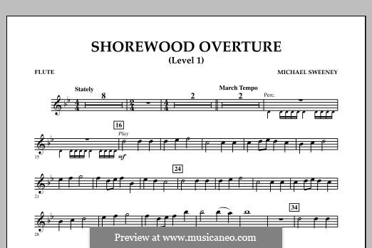 Shorewood Overture (for Multi-level Combined Bands) Level 1: Партия флейты by Michael Sweeney