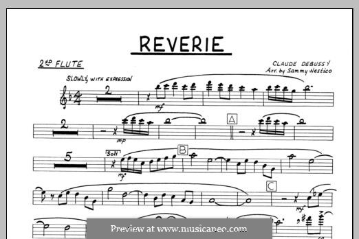 Reverie, for Orchestra, L.68: 2nd Flute part by Клод Дебюсси