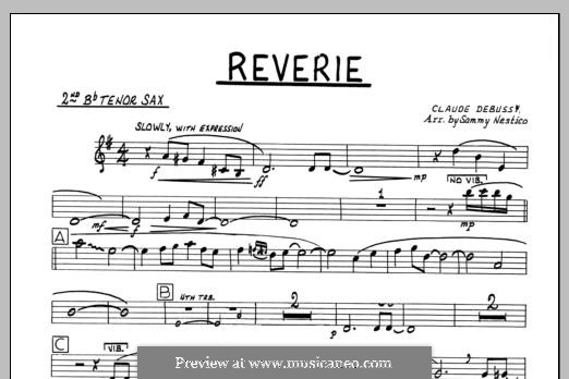 Reverie, for Orchestra, L.68: 2nd Bb Tenor Saxophone part by Клод Дебюсси