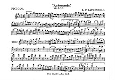 Automania. Galop for Cornet and Orchestra: Партии флейты piccolo by Louis-Philippe Laurendeau