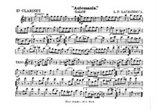 Automania. Galop for Cornet and Orchestra: Clarinet in Es part by Louis-Philippe Laurendeau