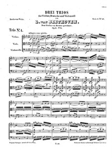 Струнное трио No.5 до минор, Op.9 No.3: Партитура by Людвиг ван Бетховен