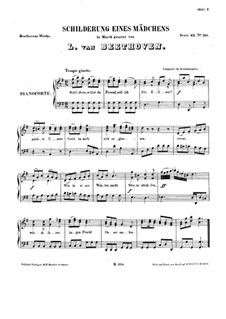 Schilderung eines Mädchens, WoO 107: Клавир с вокальной партией by Людвиг ван Бетховен