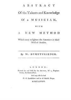 Abstract of the Talents and Knowledge of a Musician: English text by Anton Bemetzrieder