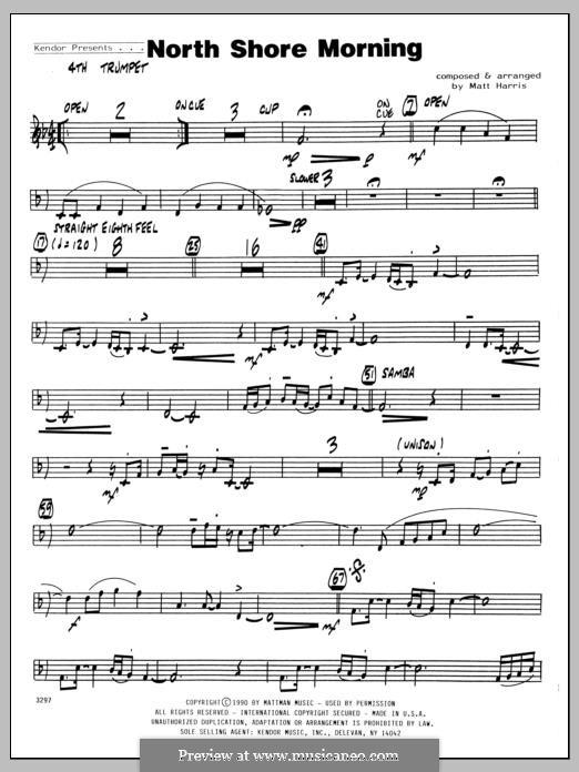 North Shore Morning: 4th Bb Trumpet part by Matthew Harris