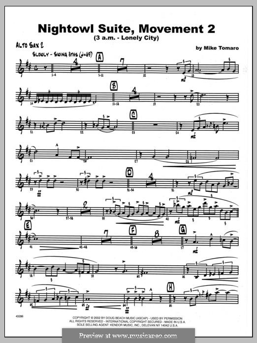 Nightowl Suite, Mvt. 2 (3 a.m. - Lonely City): 2nd Eb Alto Saxophone part by Mike Tomaro
