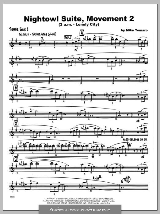Nightowl Suite, Mvt. 2 (3 a.m. - Lonely City): 1st Bb Tenor Saxophone part by Mike Tomaro