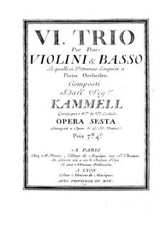 Шесть сонат для двух скрипок и бассо континуо, Op.6: Скрипка I by Антонин Каммель