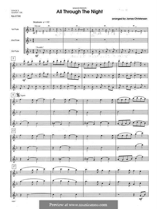 All Through the Night: For trio flutes – full score by folklore
