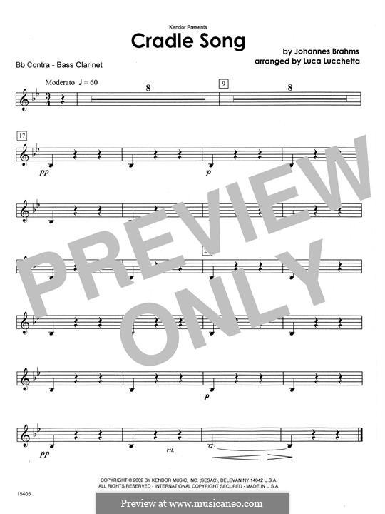 No.4 Колыбельная: Cradle Song - Bb Contra Bass Clarinet (Lucchetta) by Иоганнес Брамс