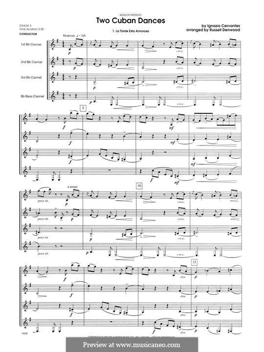 Два кубинских танцa: For clarinets - full score by Игнасио Сервантес