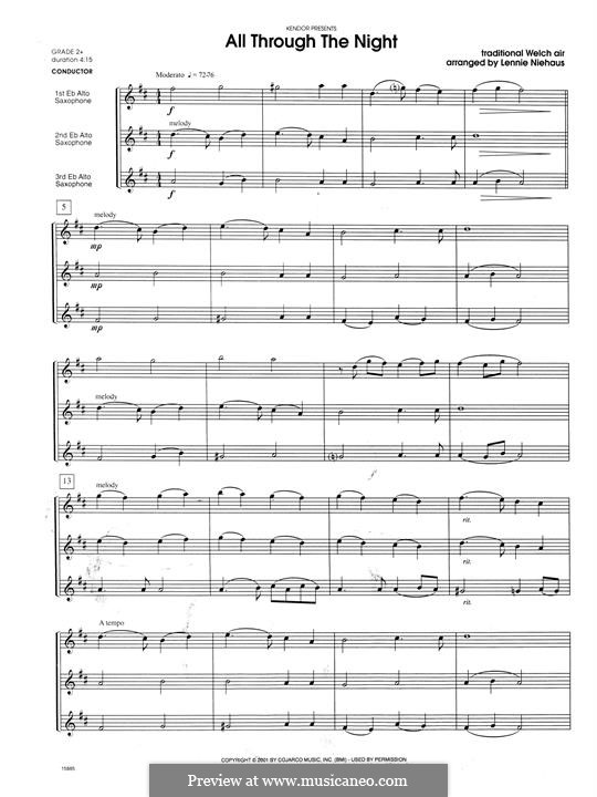 All Through the Night: For trio saxophones – full score by folklore