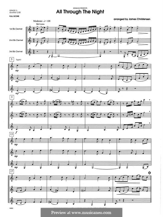 All Through the Night: For trio clarinets – full score by folklore