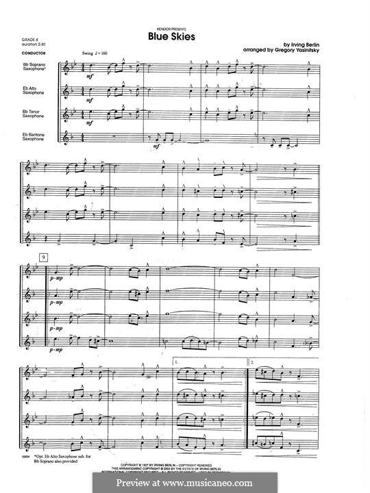 Blue Skies: For saxophones – full score by Ирвинг Берлин