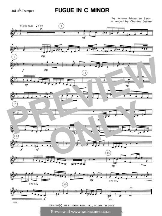 Прелюдия и фуга No.2 до минор, BWV 847: For quartet trumpets – 3rd Bb Trumpet by Иоганн Себастьян Бах
