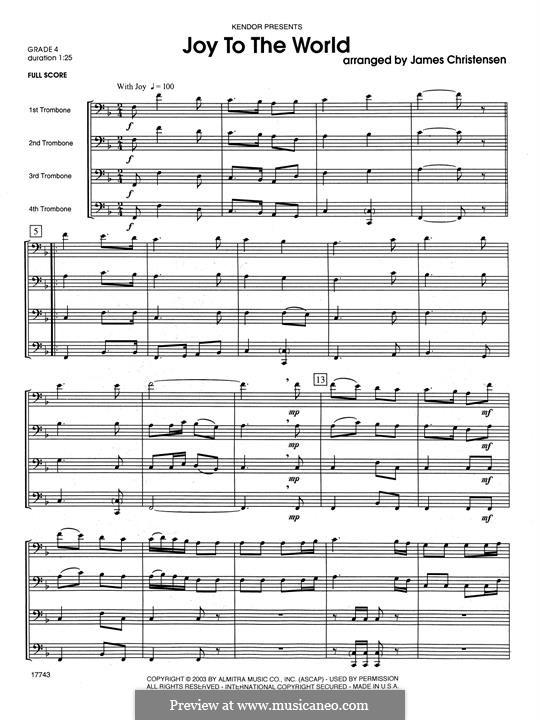 Joy to the World: For quartet trombones – full score by folklore