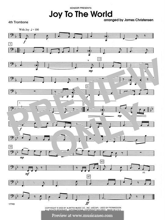 Joy to the World: For quartet trombones – 4th Trombone part by folklore