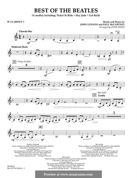 Best of the Beatles: Bb Clarinet 3 part by John Lennon, Paul McCartney