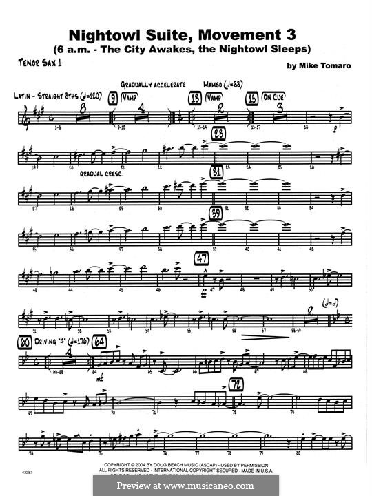 Nightowl Suite, Mvt.3: 1st Tenor Saxophone part by Mike Tomaro