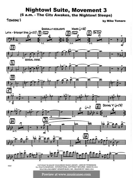 Nightowl Suite, Mvt.3: 3rd Trombone part by Mike Tomaro