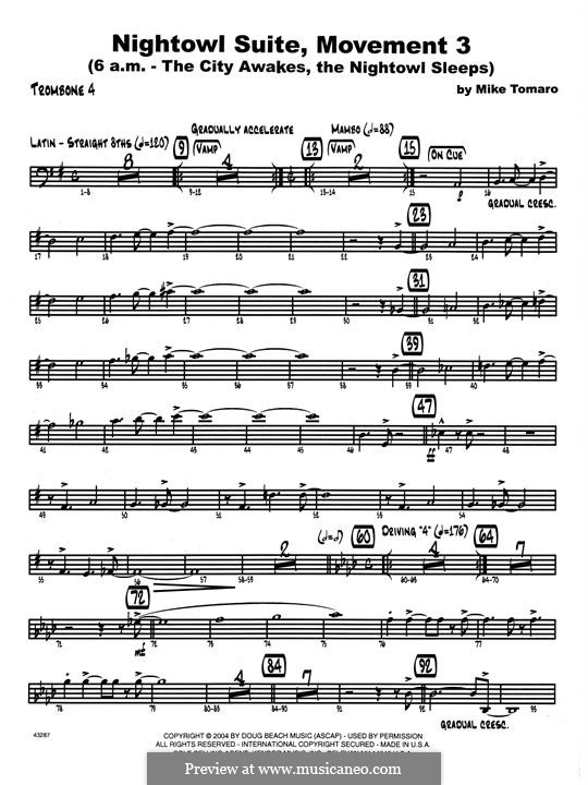 Nightowl Suite, Mvt.3: 4th Trombone part by Mike Tomaro