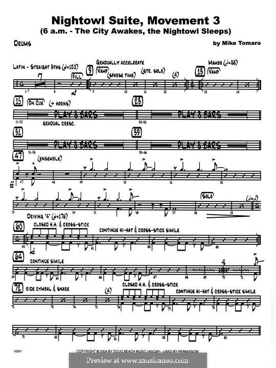 Nightowl Suite, Mvt.3: Drum Set part by Mike Tomaro