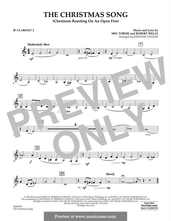 Concert Band version: Bb Clarinet 2 part by Mel Tormé, Robert Wells