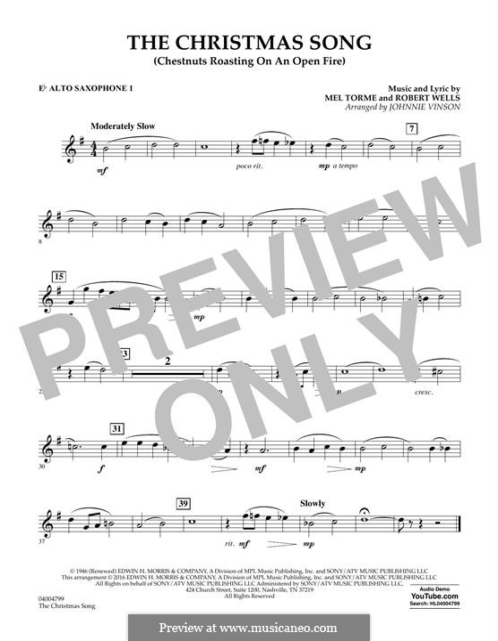 Concert Band version: Eb Alto Saxophone 1 part by Mel Tormé, Robert Wells