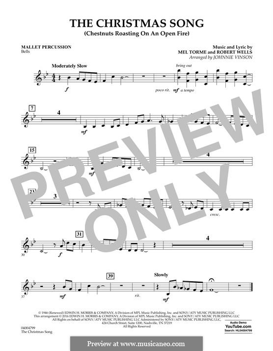 Concert Band version: Mallet Percussion part by Mel Tormé, Robert Wells