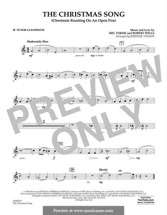 Concert Band version: Bb Tenor Saxophone part by Mel Tormé, Robert Wells