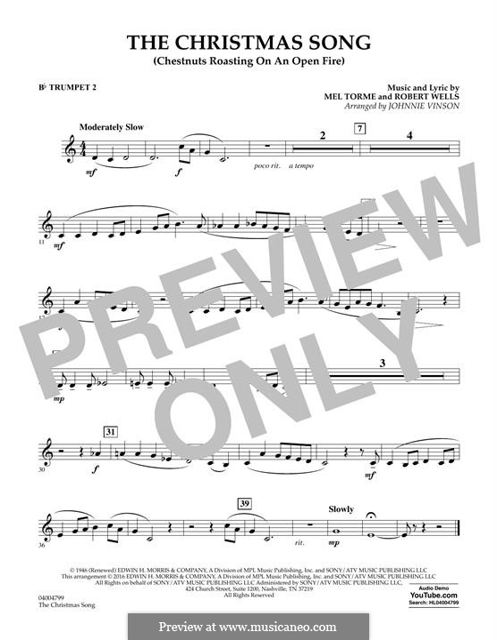 Concert Band version: Bb Trumpet 2 part by Mel Tormé, Robert Wells