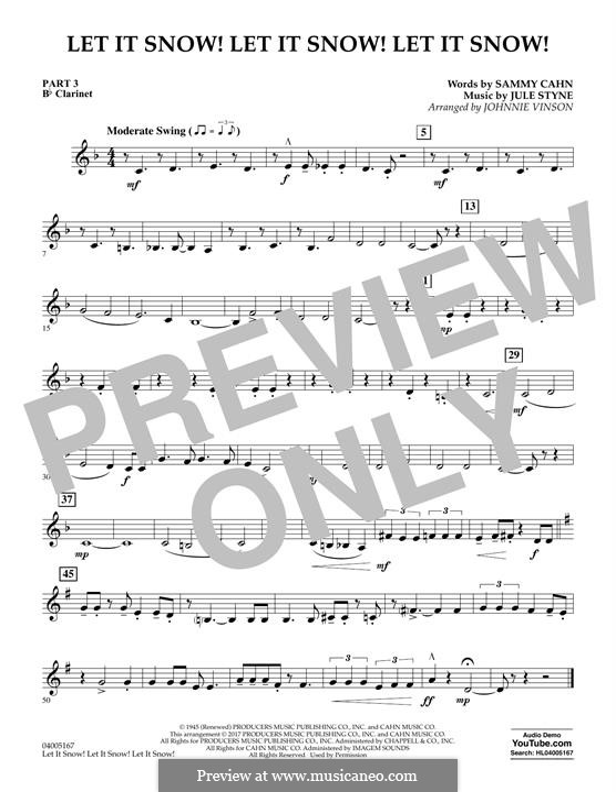 Let It Snow! Let It Snow! Let It Snow! (arr. Johnnie Vinson): Pt.3 - Bb Clarinet by Jule Styne