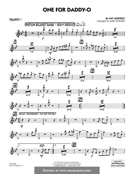 One for Daddy-O: Trumpet 1 part by Nat Adderley Jr.
