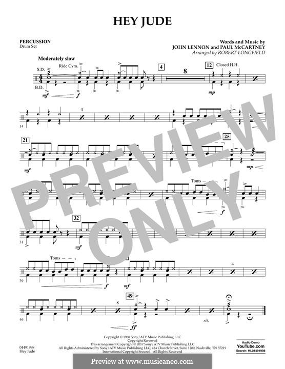 Hey Jude (The Beatles): For strings - Percussion part by John Lennon, Paul McCartney