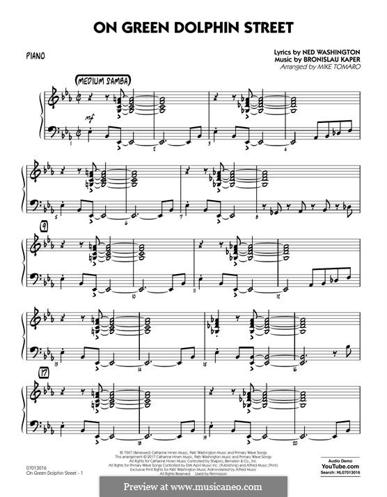 On Green Dolphin Street (Jazz Ensemble version): Партия фортепиано by Bronislau Kaper