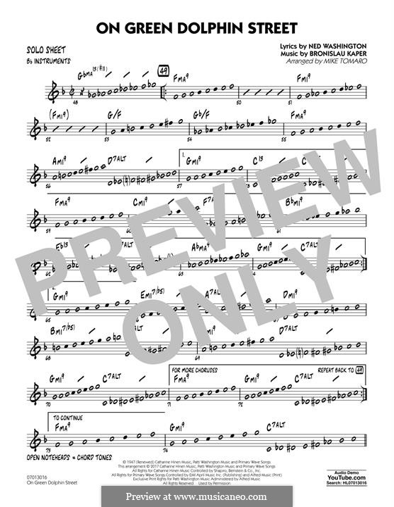 On Green Dolphin Street (Jazz Ensemble version): Bb Solo Sheet part by Bronislau Kaper