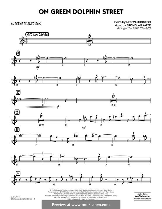 On Green Dolphin Street (Jazz Ensemble version): Alternate Alto Sax part by Bronislau Kaper
