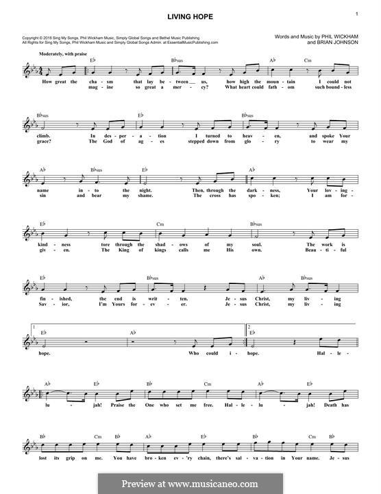 Living Hope: Для клавишного инструмента by Brian Johnson, Phil Wickham