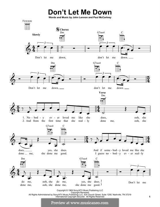 Don't Let Me Down (The Beatles): Для укулеле by John Lennon, Paul McCartney