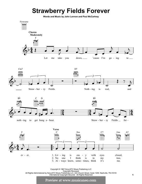 Strawberry Fields Forever (The Beatles): Для укулеле by John Lennon, Paul McCartney